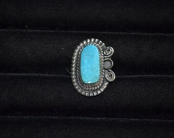 Size 6 Handmade Sterling Silver and Turquoise Ring