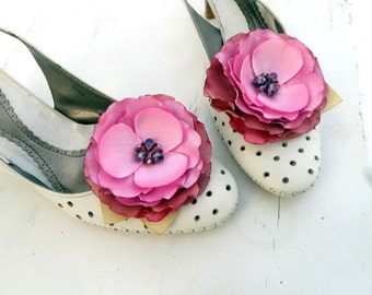 Pink Shoe Clips, pink flowers, Silk Flower , Handwork , Accessories for women , Shoe Accessories Rose ashes