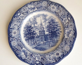 Vintage Staffordshire Liberty Blue Commerative Plate, Independence Hall, Liberty Blue Plate, Commerative Plate