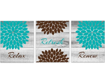 Brown And Teal Bathroom Wall Art, INSTANT DOWNLOAD Relax Refresh Renew,  Aqua And Brown