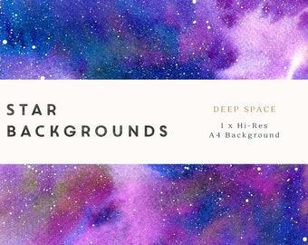 Watercolour Star Nebula Background Digital Paper - Deep Space - A4, printable, free commercial use