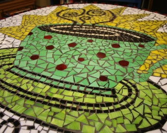 Stained Glass Mosaic Coffee Table Cup O Java Large Round Glass Table Top Glass Art