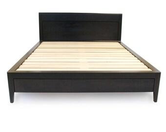 Ebonized Walnut Storage Bed - Platform Bed No. 2 - Modern Wood Bed Frame -