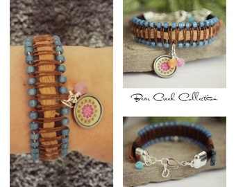Leather Stacking Bracelet, Sari Silk, Denim Blue, Bohemian Flower Charm, Leather Jewelry, Beaded Bracelet, Womens Bracelet, Boho Jewelry