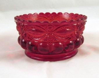 Vintage Eyewinker Pattern Ruby Red Bowl Candy Trinket Fingerbowl