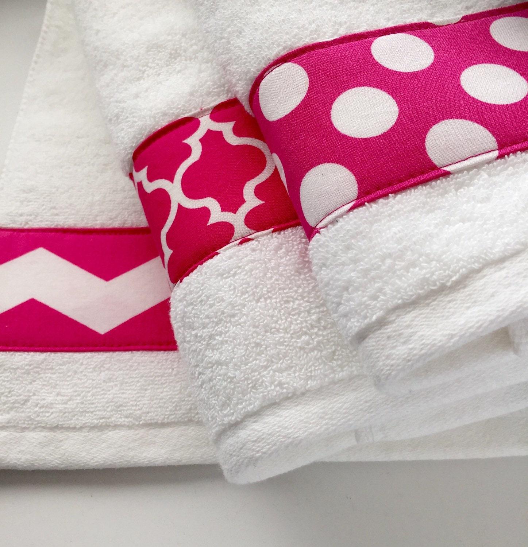 Pink Towels Hand Towel Chevron Hot Pink Bathroom Decor