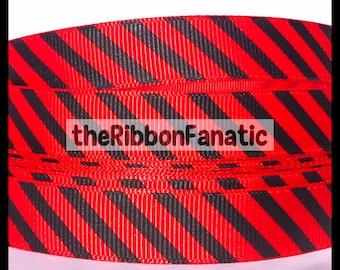 "5 yds 5/8"" Red and Black Diagonal Stripe Striped Grosgrain Ribbon"