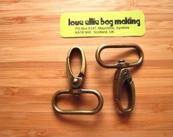Metal Purse Hooks - Swivel Snap Style - 1.25 inch / 32mm Silver Nickel /Antique Brass -  Bag and Strap Hardware