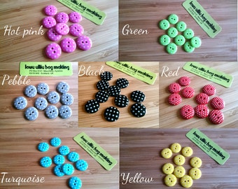 Cute Little Spotty Buttons - Choose: black, hot pink, green, turquoise, red, yellow, pebble & white Stripe buttons -  2 Hole Buttons, 15mm