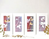 Leaves, Set of 4 monoprints, Natural, Mauve and Yellow