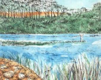 Fishing on the River Otter #3, Drypoint & Monoprint