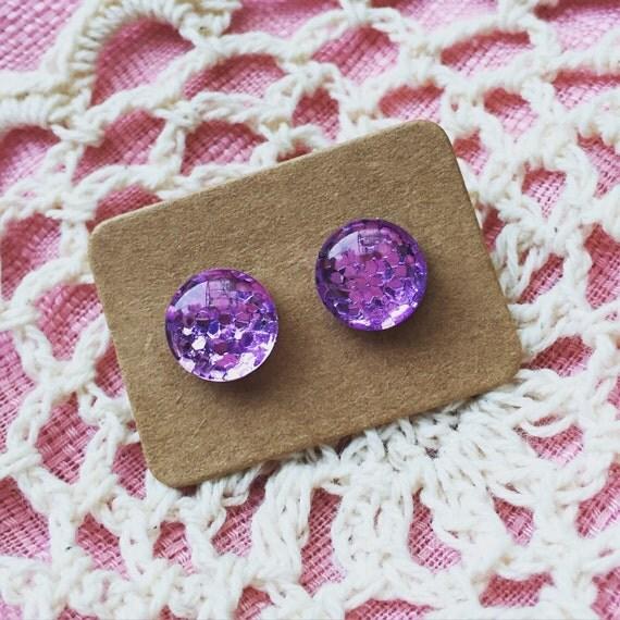 FREE SHIPPING - Glitter Earrings - Glass Stud - Surgical Steel - Purple Glitter - Handmade - Sparkle Gold Green Silver Red Blue