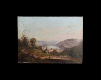 An antique English School oil on canvas painting depicting an Italian Alpine landscape, 18th/19th century