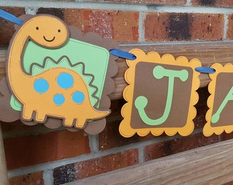 Dinosaur Birthday Package, Name Banner,  Happy Birthday Banner, Door Sign and  Centerpiece