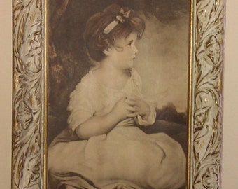 Vintage Picture Age of Innocence Little Girl Print Ornate Wood Frame