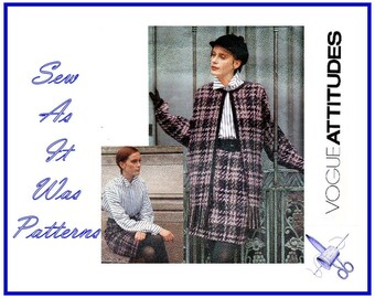 1990s Vogue Attitudes 2561 Uncut Rebecca Moses Clutch Jacket Shirt Blouse Mod Straight Skirt Misses Sewing Pattern Size 6 8 10 Bust 30 31 32
