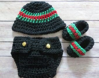 GUCCI crochet hat, d.cover, booties set bringing home baby, shower gift photo props Newborn, 0-3 months, 3-6 months, 6-12 months baby boy