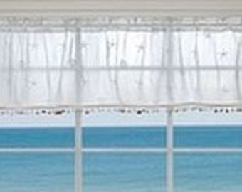 Coastal Lace Valance with Seashell Trim
