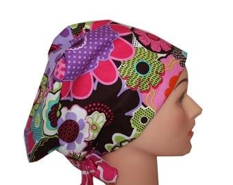 Scrub Hat Surgical Scrub Cap Chemo Chef Vet Nurse Dr Hat European Style Pixie Purple Blue Brown Pink Floral   2nd Item Ships FREE