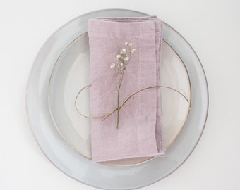 Set of 2 Pink Lavender Stone Washed Linen Napkins