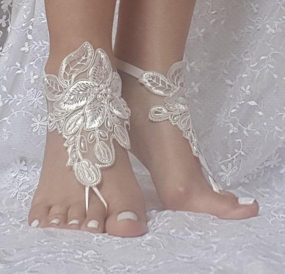 ivory beaded lace barefoot sandal  wedding shoe