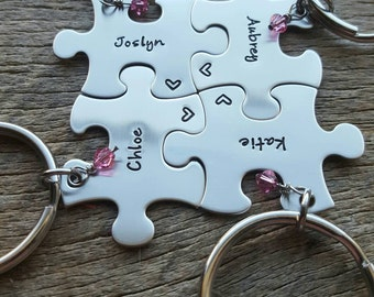 Puzzle Piece Key chains with Name and Stone -Choose Your Quantity- Bridesmaids - Best Friends