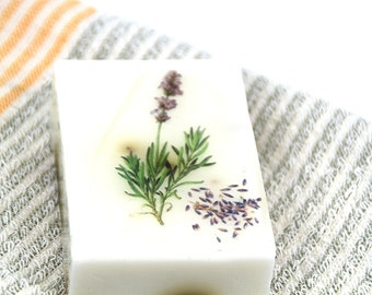 Lavender soap with decoupage
