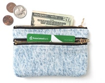 Coin Purse Wallet Double Zipper Pouch Recycled Acid Washed Denim