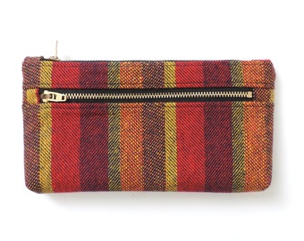 Stripe Clutch Purse Wallet Pencil Case Double Zipper Pouch Wool SALE
