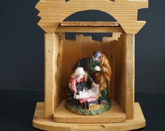 Vintage, Wooden Creche with Nativity Scene