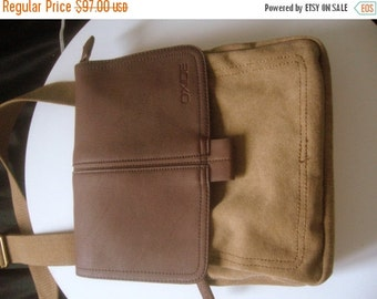 CLEARANCE %40 OFF Messenger bag canvas /cross body messenger vintage/safari bag canvas and faux leather