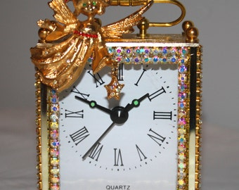 """Carriage Clock with Vintage MyLu Angel and Rhinestones  """"SOMEONE SPECIAL"""""""