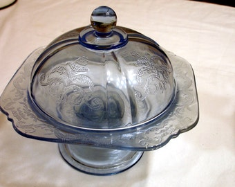 Blue Glass Candy Dish and Lid