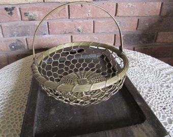 Vintage Brass Wire Basket Handle and Woven Bottom.