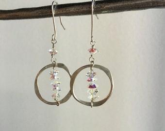 Sterling Silver Swarovski Elements Crystal Hand Hammered Hoop Earrings