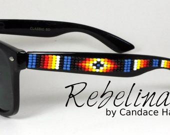 Beaded Sunglasses Mens Dark Blue Fire