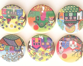 It Takes A Village Magnets, Funky Houses Magnets, Refrigerator Magnet, Fridge Magnet, The Neighborhood, Magnets, Cute Funky Houses, Set of 6