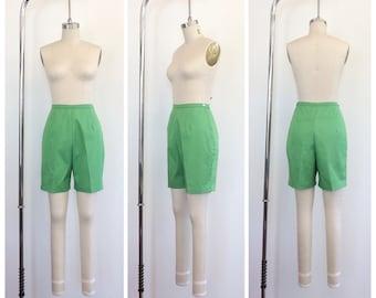 50s Bright Green Cotton Jo Ann Shorts / 1950s Vintage High Waisted Bombshell Shorts / Medium / Size 6