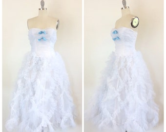 50s Light Blue / White Ruffled Prom Dress - 1950s Vintage Strapless Cupcake Party Dress- Small - Size 4