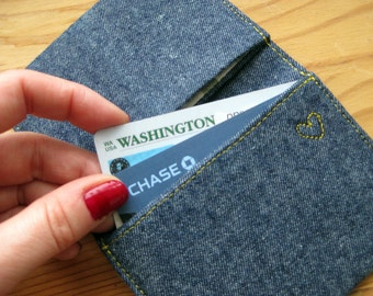 denim three-pocket card holder vegan wallet