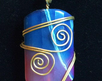 Pendant -Purple and Blue Agate Pendant with Double Gold Wire Swirls - FREE SHIPPING