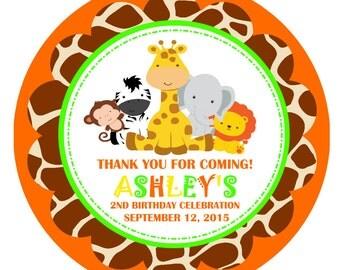 Safari Favor Tags, Safari Birthday Party Favors - Digital File