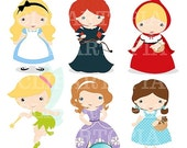 50% OFF SALE Fairytale Girls Digital Clipart / Cute Fairytale Princess Digital Clipart for Personal and Commercial Use / INSTANT Download