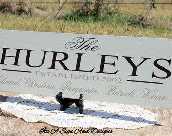 Last Name Sign, Custom Wooden Signs, Personalized Sign for Home, 25th Anniversary Gift, Family Established Sign, Wedding Gifts for Couple,