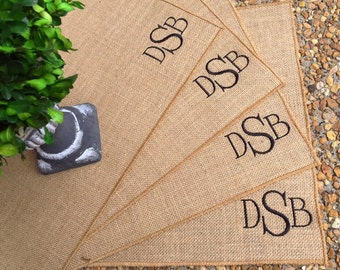 Set of Burlap Placemats, Monogrammed Placemats, Personalized Placemats, Initials Placemats