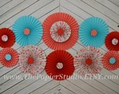 Vintage Inspried Red and Turquoise Set of 11 (ELEVEN)  paper fans/rosettes, decorations for Girl Baby Shower,Birthday Party or Wedding