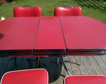 Red 1950s dinette set - table and chairs