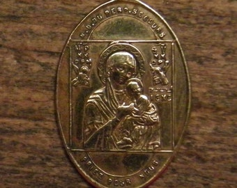 Antique religious bronze medal pendant our lady of perpetual help
