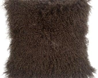 Mongolian Sheepskin Chocolate Brown Throw Pillow