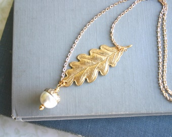 Oak Leaf with Acorn Pearl Brass & Antique Bronze Necklace, Woodland, Nature, Fall, Wedding, Boho, Rustic
